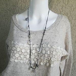 J.crew Long Necklace Pearls & Rhinestone Balls